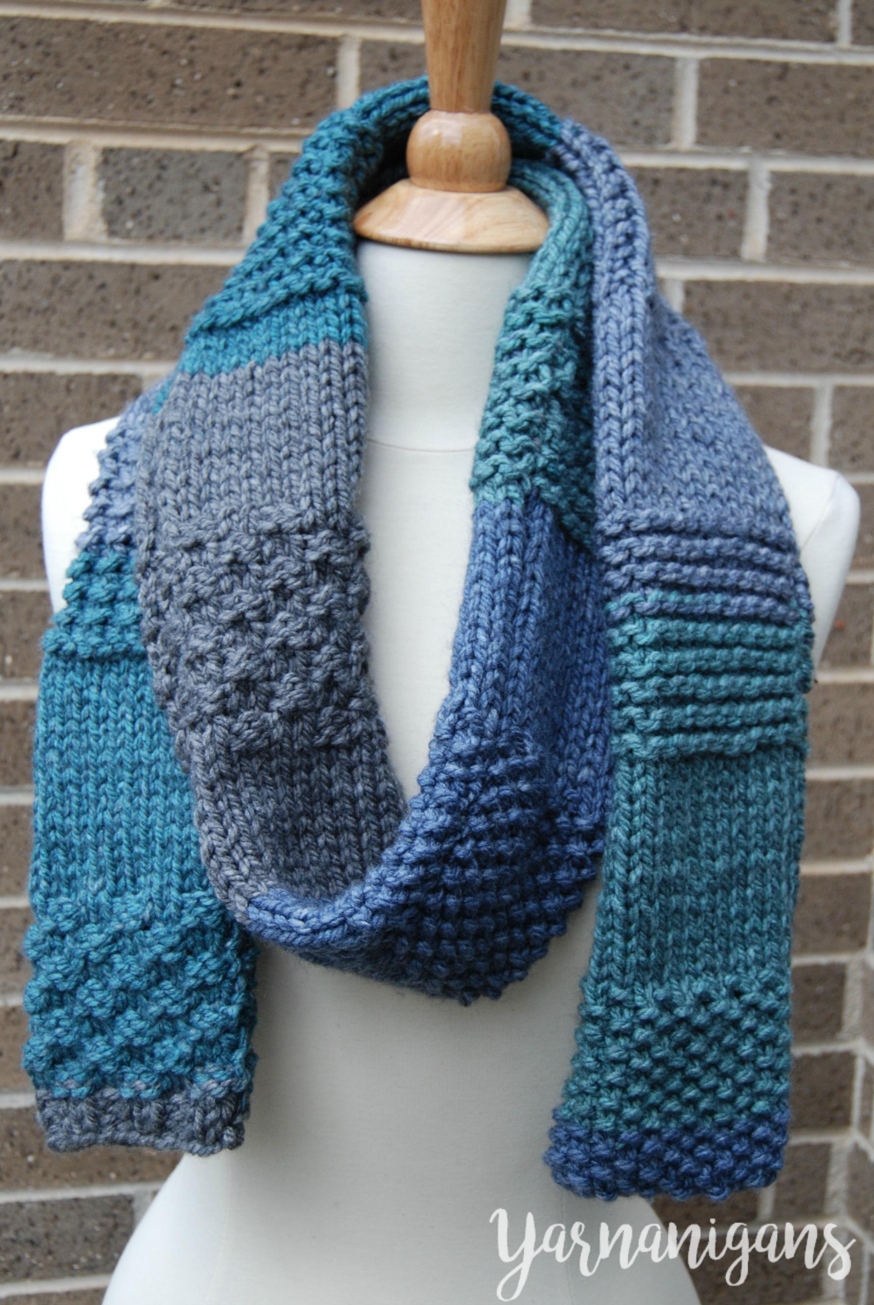 Knit Sampler Scarf - Free Knit Pattern - Yarnanigans